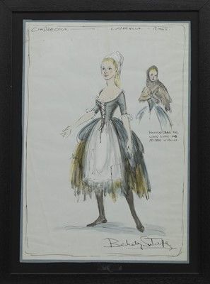Lot 164 - CINDERELLA COSTUME DESIGN FOR THEATRE, A MIXED MEDIA BY RICHARD BERKELEY SUTCLIFFE