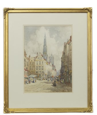 Lot 477 - ANTWERP CATHEDRAL OF OUR LADY, A WATERCOLOUR BY J R MILLER