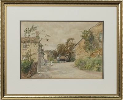 Lot 474 - VILLAGE SCENE WITH FIGURES, A WATERCOLOUR