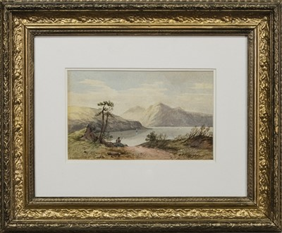 Lot 475 - HIGHLAND SCENE WITH FISHERMAN, A WATERCOLOUR BY E F TIPPETT
