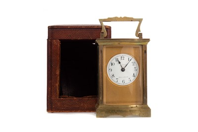 Lot 1167 - A LATE 19TH/EARLY 20TH CENTURY FRENCH BRASS CASED CARRIAGE CLOCK