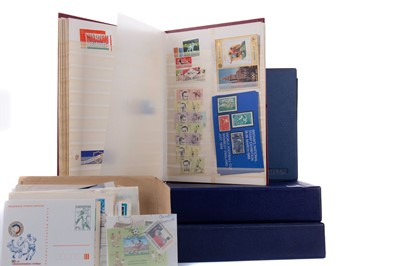 Lot 1709 - TWO STAMP ALBUMS RELATING TO THE OLYMPIC GAMES, ALONG WITH TWO OTHER ALBUMS