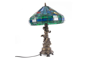 Lot 1363 - A TABLE LAMP WITH TIFFANY STYLE LEADED AND STAINED SHADE