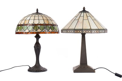 Lot 1364 - TWO TABLE LAMPS WITH TIFFANY STYLE LEADED AND STAINED SHADES