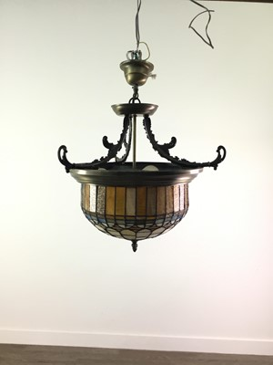 Lot 1365 - TWO CEILING PENDANT LIGHTS WITH TIFFANY STYLE LEADED AND STAINED SHADES