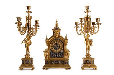 Lot 1129 - A GOOD LATE 19TH CENTURY ORMOLU CLOCK GARNITURE