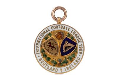 Lot 1746 - HAROLD MCDONALD PAUL'S SCOTLAND VS. IRELAND INTERNATIONAL FOOTBALL LEAGUE GOLD MEDAL 1909