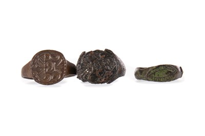 Lot 1397 - A GROUP OF THREE MEDIEVAL RINGS