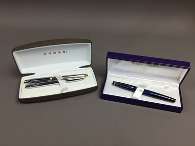 Lot 50A - A LOT OF TWO CROSS FOUNTAIN PENS ALONG WITH ANOTHER