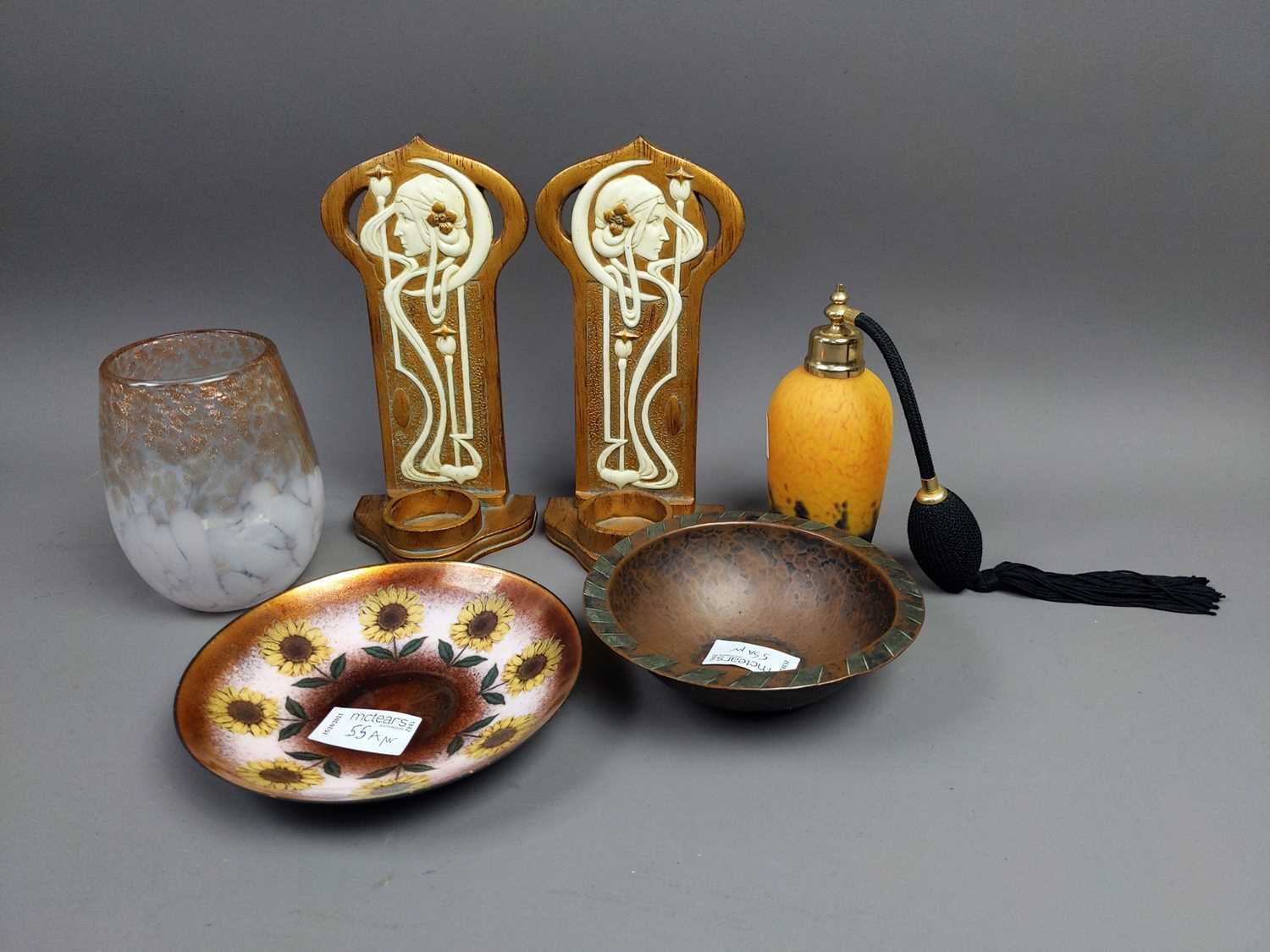 Lot 55 - A PAIR OF ART NOUVEAU STYLE SCONCES AND OTHERS