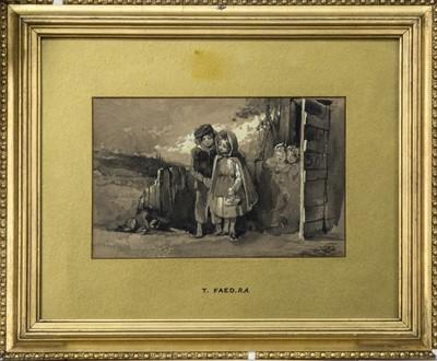 Lot 174 - LITTLE CHILDREN, A WATERCOLOUR BY THOMAS FAED