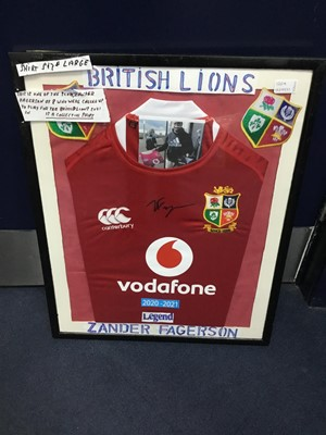 Lot 120A - A FRAMED BRITISH AND IRISH LIONS JERSEY