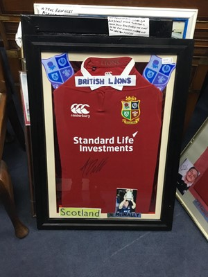Lot 125A - A FRAMED BRITISH AND IRISH LIONS JERSEY