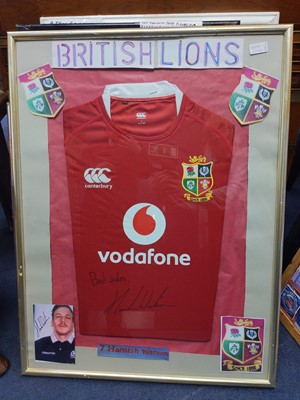 Lot 130A - A FRAMED BRITISH AND IRISH LIONS JERSEY