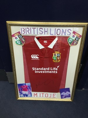 Lot 135A - A FRAMED BRITISH AND IRISH LIONS JERSEY