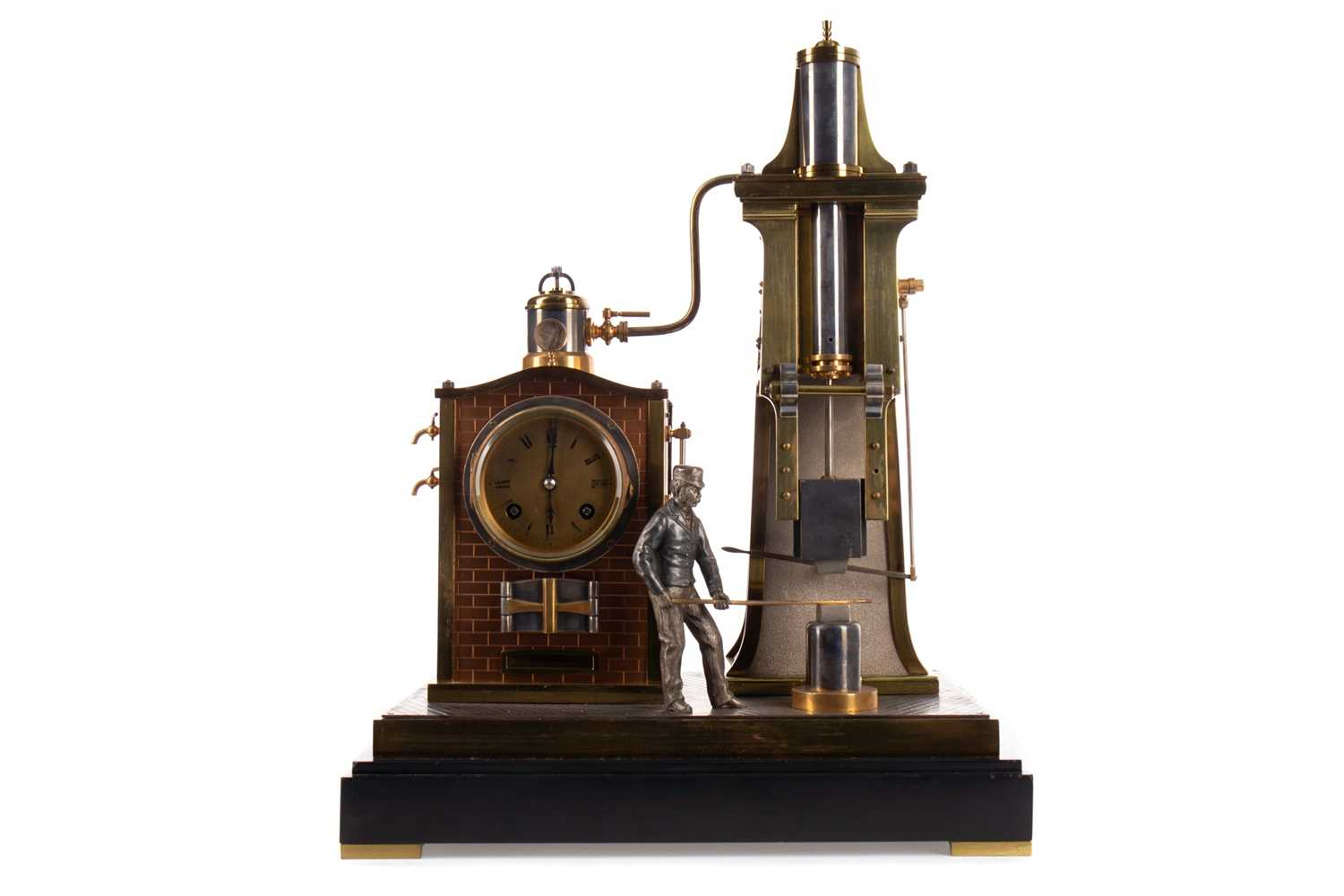 Lot 1198 - A RARE AND IMPRESSIVE LATE 19TH CENTURY FRENCH GILT AND PATINATED METAL 'FOUNDRYMAN' AUTOMATON CLOCK