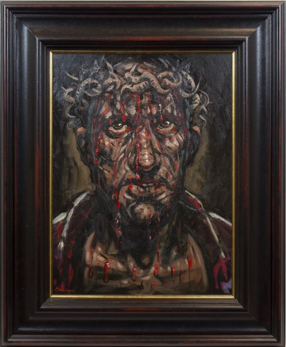 Lot 40-* PETER HOWSON OBE, CROWN OF THORNS oil on canvas,...