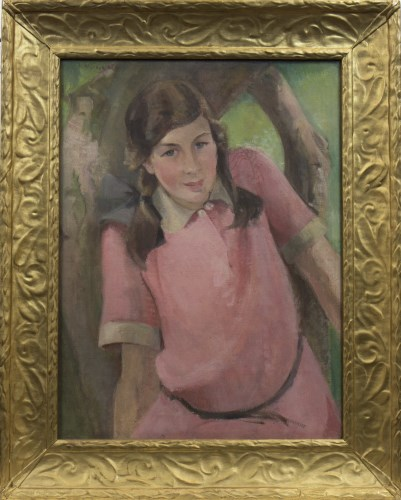 Lot 1573-HELENA WINGATE (SCOTTISH), GIRL IN PINK oil on...