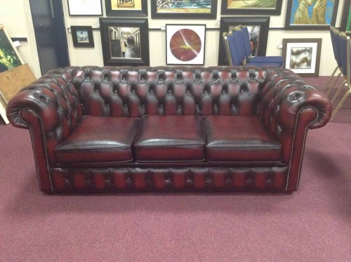 Lot 1253-THREE SEAT BUTTON BACK CHESTERFIELD STYLE SOFA...