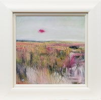 Lot 70 - MAY BYRNE, CRIMSON MOON oil on board, signed...
