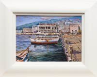 Lot 1275-CONTEMPORARY SCHOOL, BOATS IN HARBOUR oil on...