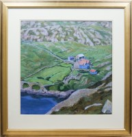 Lot 1285-* FAY CLARK, BLUE CROFT ON HARRIS oil on board,...