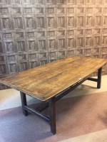 Lot 881 - ATTRACTIVE ENGLISH OAK REFECTORY DINING TABLE...