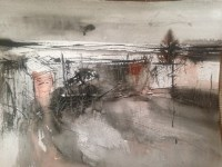 Lot 354 - MAY BYRNE, MID WINTER mixed media on paper,...