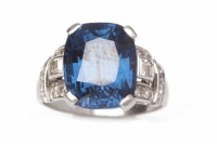 Lot 4-OUTSTANDING ART DECO CERTIFICATED NATURAL BLUE...