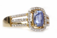 Lot 19-SAPPHIRE AND DIAMOND DRESS RING set with an oval...