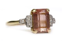 Lot 23-PINK TOURMALINE AND DIAMOND SET RING in the Art...