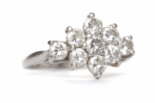 Lot 50-DIAMOND CLUSTER RING set with nine round...