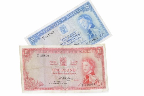 Lot 508-RESERVE BANK OF RHODESIA TEN SHILLINGS NOTE DATED ...
