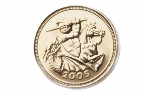 Lot 522-GOLD HALF SOVEREIGN DATED 2005