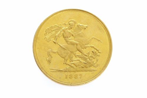 Lot 589-GOLD FIVE POUNDS COIN DATED 1887