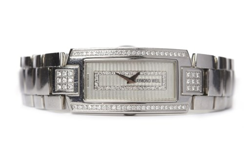 Lot 768-LADY'S RAYMOND WEIL STAINLESS STEEL DIAMOND SET...
