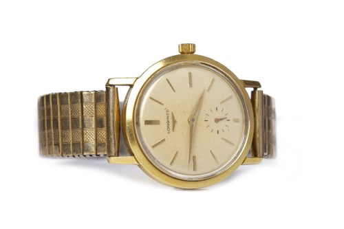 Lot 774-GENTLEMAN'S LONGINES GOLD PLATED AUTOMATIC WRIST...
