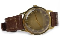 Lot 786-GENTLEMAN'S VULCAIN GOLD PLATED QUARTZ WRIST...