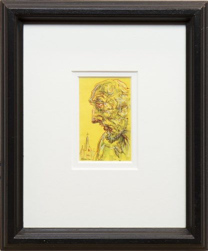 Lot 54-* PETER HOWSON OBE, DON QUIXOTE mixed media on...