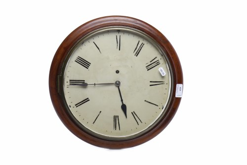 Lot 624-19TH CENTURY MAHOGANY CASED CIRCULAR WALL CLOCK...