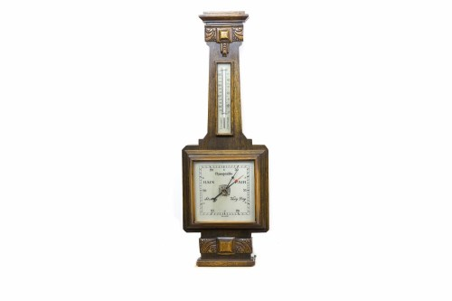 Lot 625-ART DECO OAK WALL BAROMETER with square dial and...