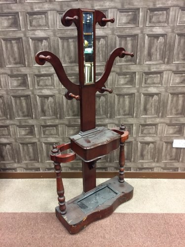Lot 881 - VICTORIAN MAHOGANY HALL STAND inset with...