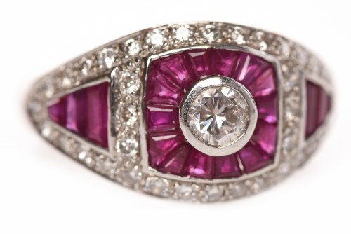 Lot 47-ART DECO STYLE RUBY AND DIAMOND DRESS RING the...