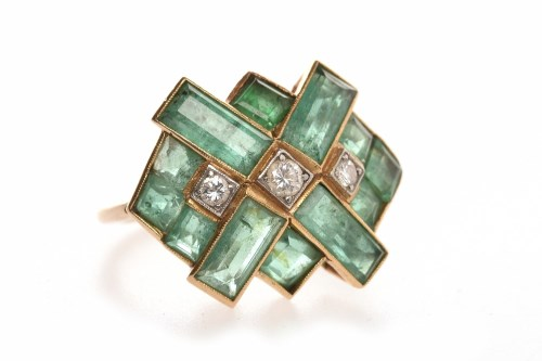 Lot 59-ART DECO STYLE EMERALD AND DIAMOND RING the...