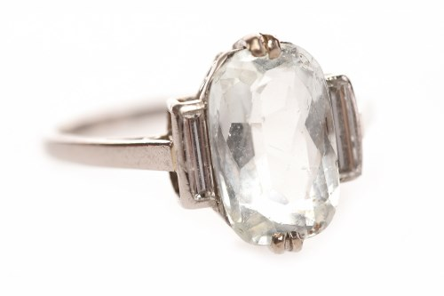 Lot 61-ART DECO PLATINUM AQUAMARINE AND DIAMOND RING the ...