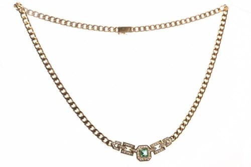 Lot 71-EIGHTEEN CARAT GOLD EMERALD AND DIAMOND NECKLET...