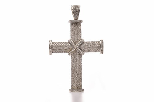 Lot 75-EIGHTEEN CARAT WHITE GOLD DIAMOND SET CROSS with...