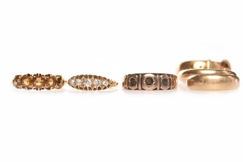 Lot 79 - SIX VICTORIAN GOLD RINGS comprising an...