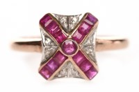 Lot 93-LUKE STOCKLEY RUBY AND DIAMOND DRESS RING the...