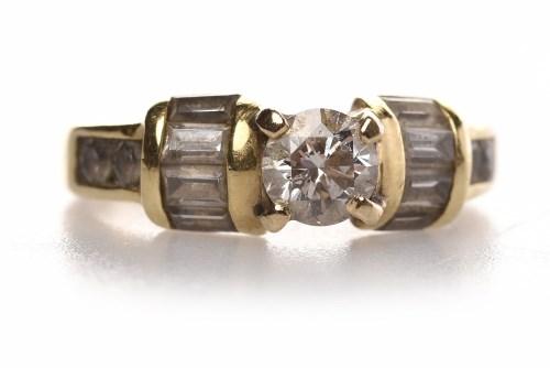 Lot 96 - EIGHTEEN CARAT GOLD DIAMOND DRESS RING set...